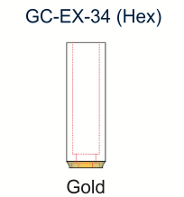 Ex-Hex UCLA Gold Abutment 3.4mm Engaging