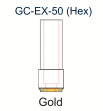 Ex-Hex UCLA Gold Abutment 5.0mm Engaging